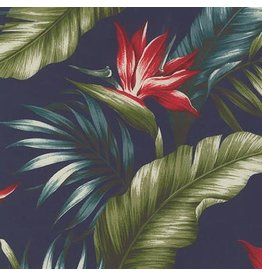 Sevenberry Rayon Lawn, Ecovero Aloha Prints, Bird of Paradise in Navy, Fabric Half-Yards