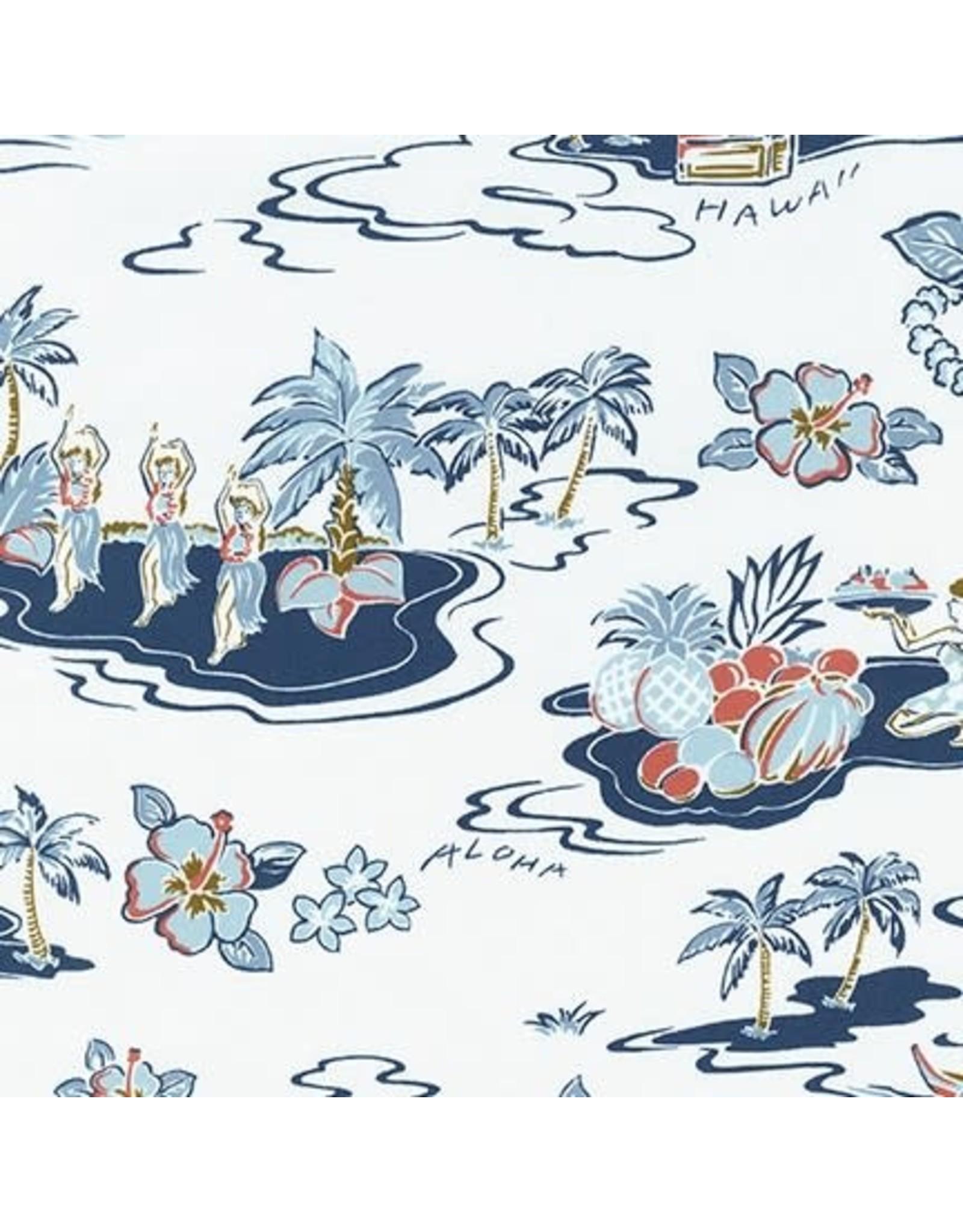 Sevenberry Rayon Lawn, Ecovero Aloha Prints, Hawaii in Bone, Fabric Half-Yards