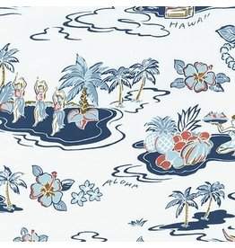 Sevenberry Rayon Lawn, Ecovero Aloha Prints, Hawaii in Bone, Fabric Half-Yards