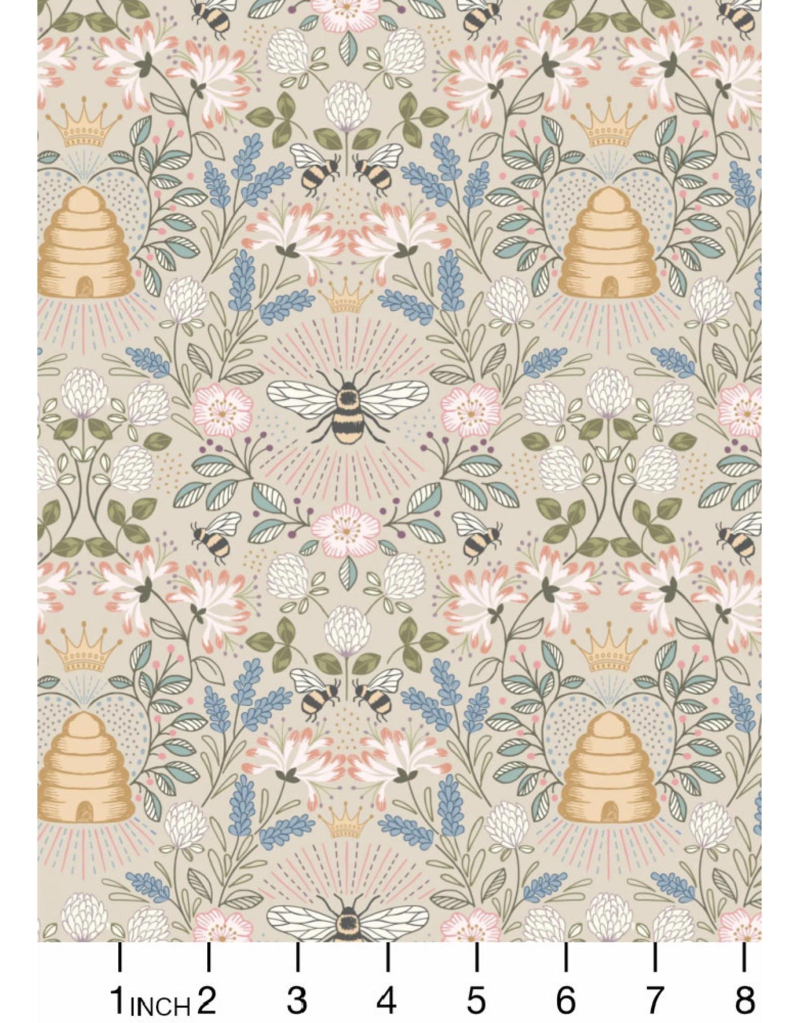 Lewis & Irene Queen Bee, Bee Hive on Dark Cream, Fabric Half-Yards