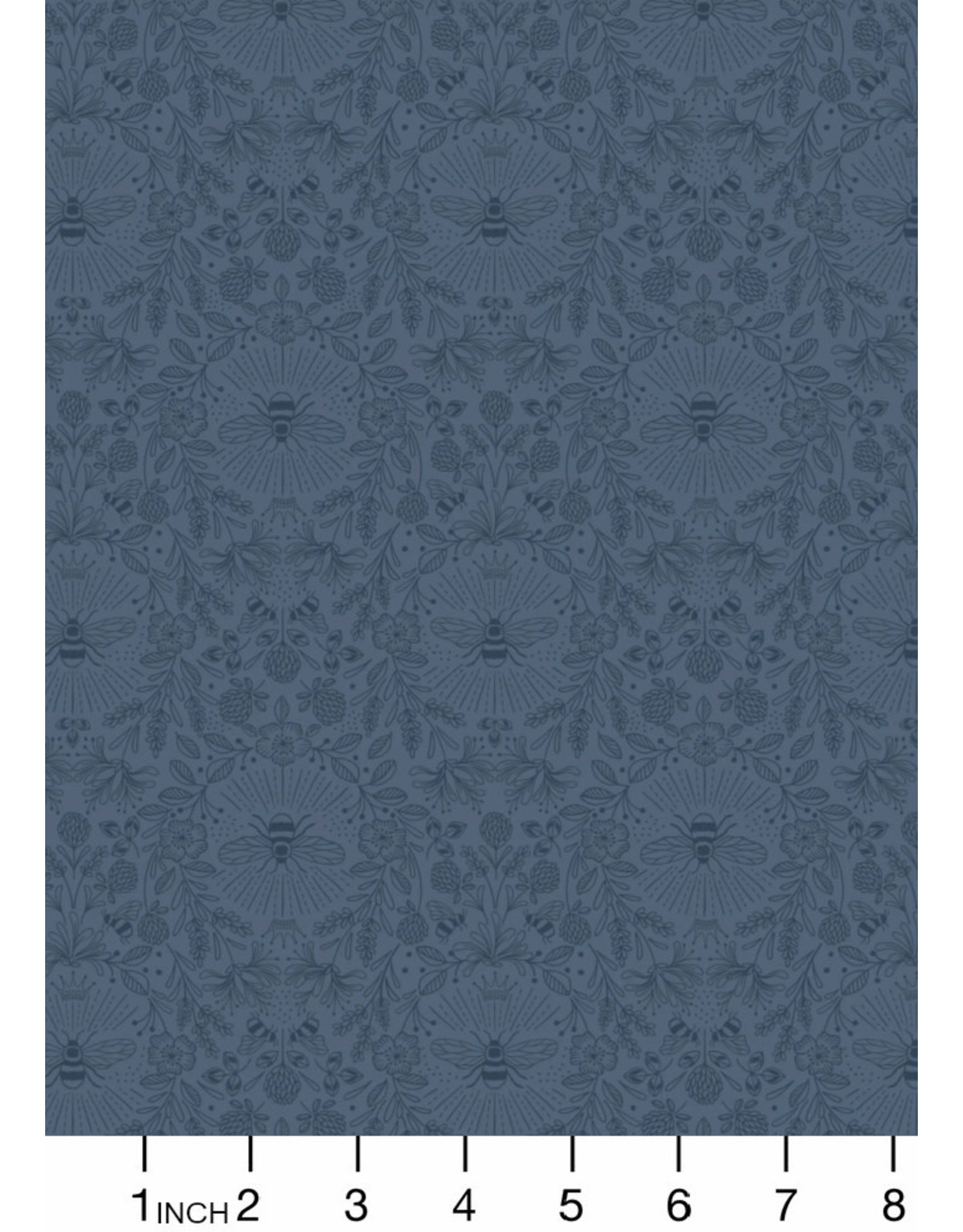 Lewis & Irene Queen Bee, Queen Bee on Dark Blue, Fabric Half-Yards