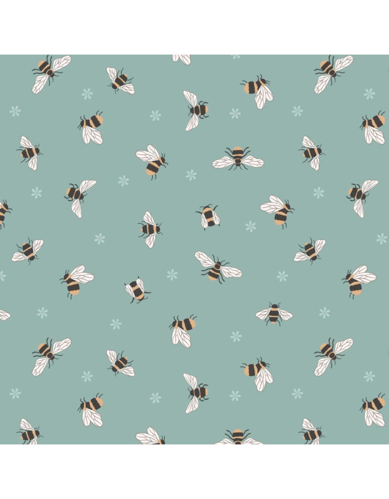 Lewis & Irene Queen Bee, Bees on Duck Egg, Fabric Half-Yards