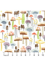 PD's Michael Miller Collection Be Kind to Everything that Grows, Mellow Mushrooms in White, Dinner Napkin