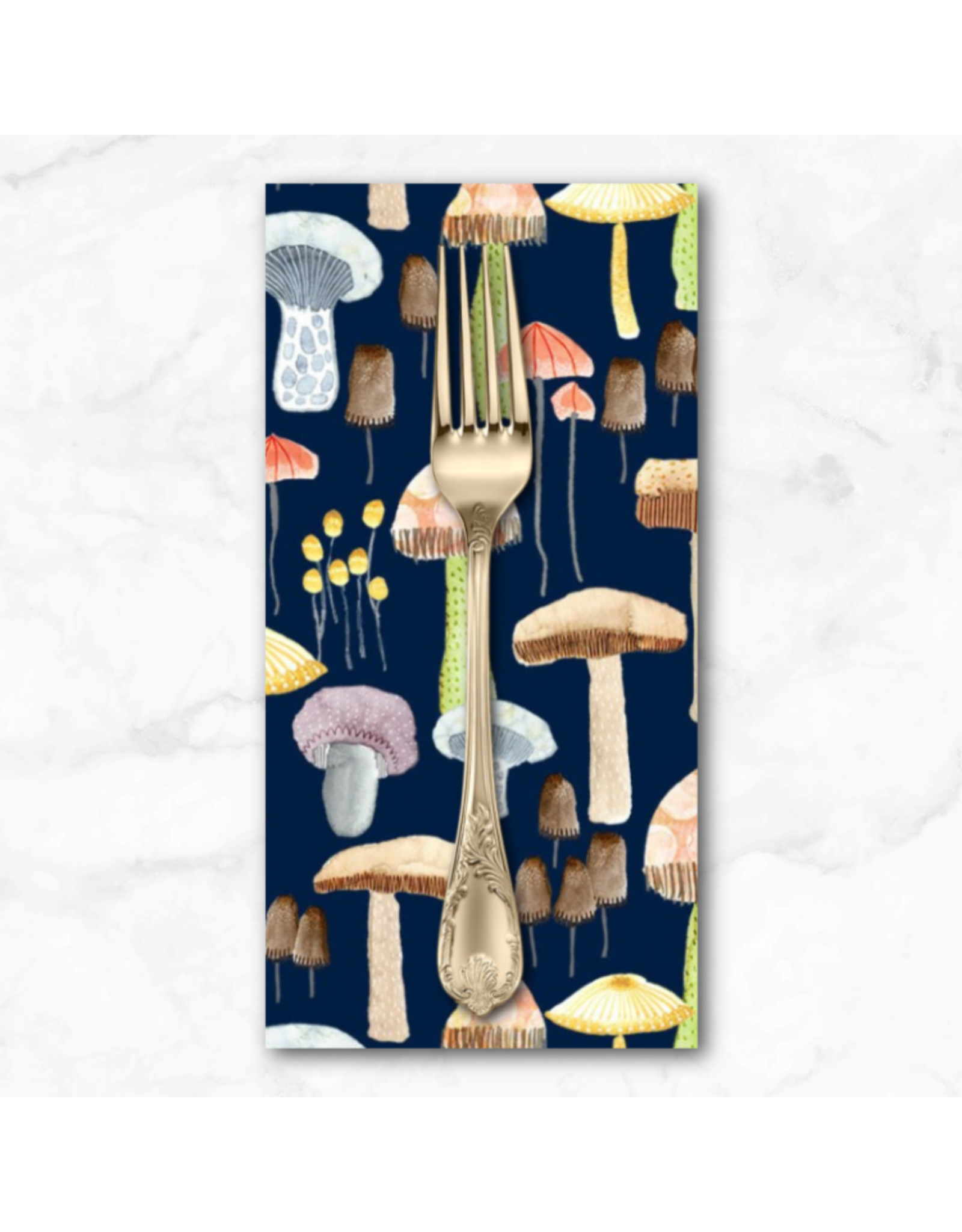 PD's Michael Miller Collection Be Kind to Everything that Grows, Mellow Mushrooms in Navy, Dinner Napkin