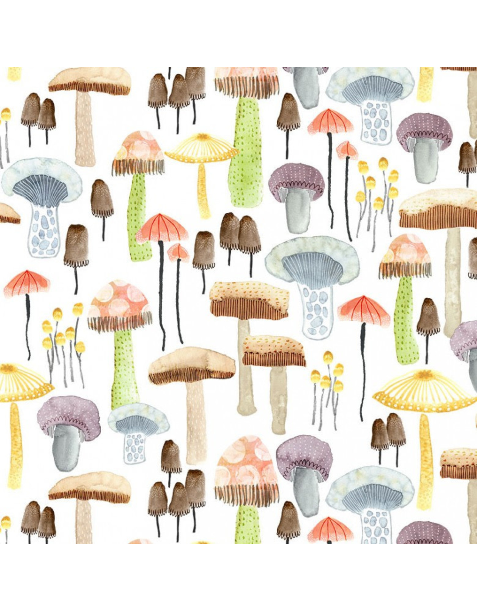 Michael Miller Be Kind to Everything that Grows, Mellow Mushrooms in White, Fabric Half-Yards