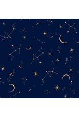 Michael Miller Mystical Meadow, Moonlit in Mellow Ink, Fabric Half-Yards