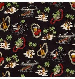 Sevenberry Island Paradise, Island Life in Black, Fabric Half-Yards