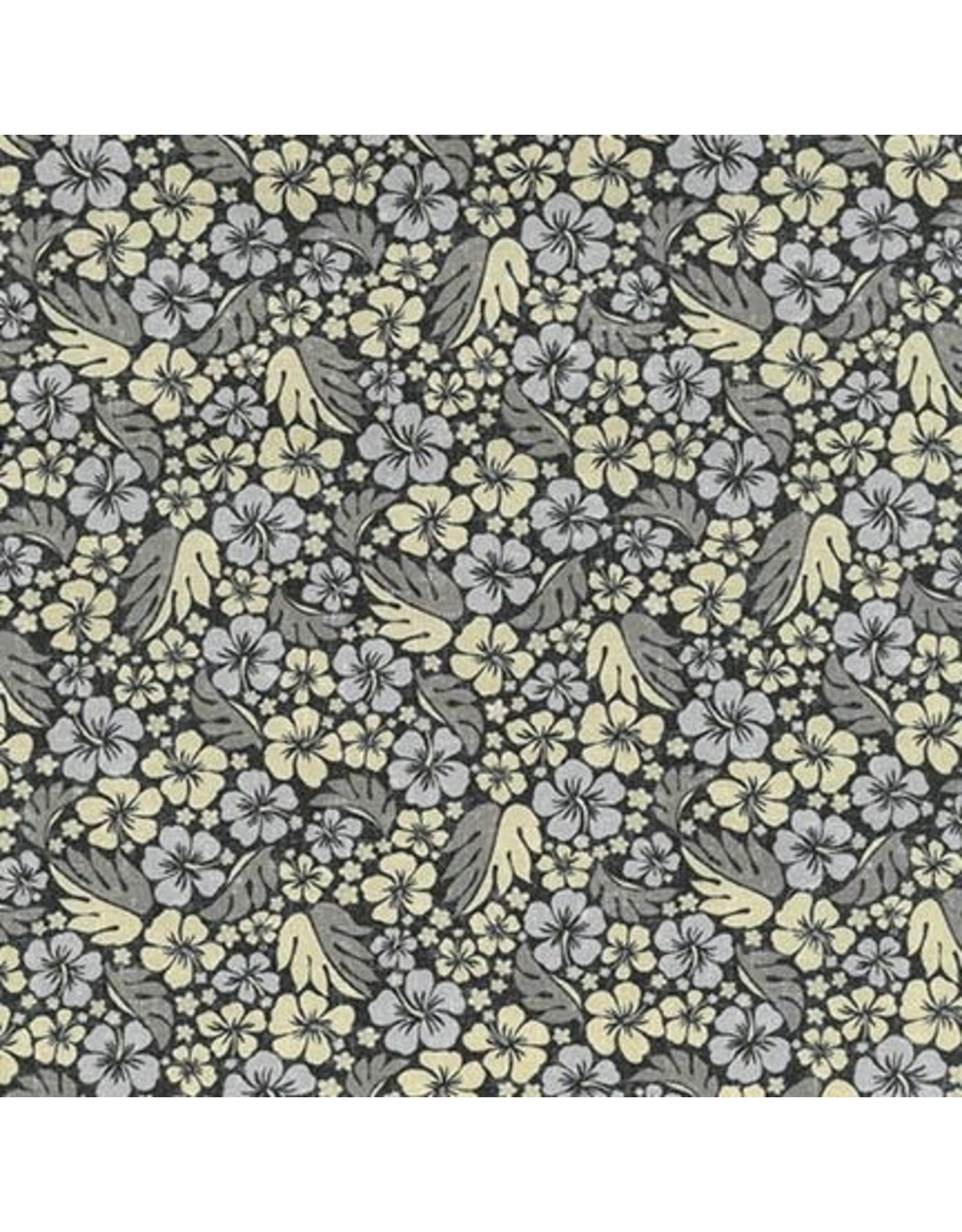 Sevenberry sland Paradise, Hibiscus in Black, Fabric Half-Yards