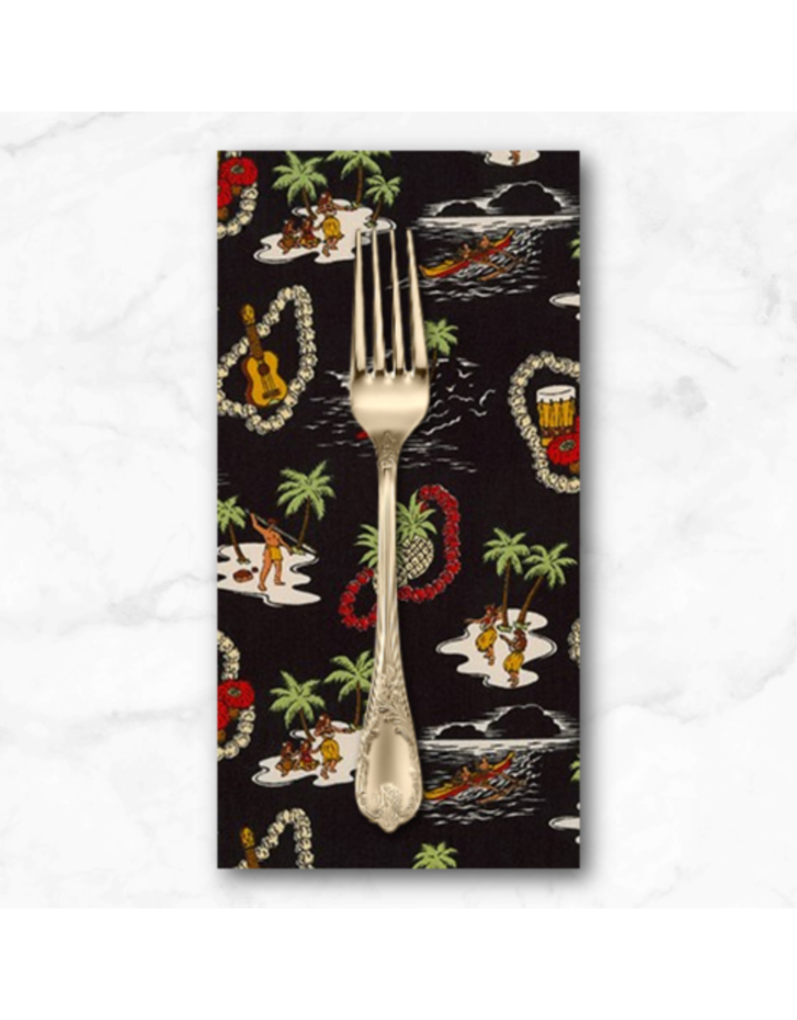 PD's Sevenberry Collection Island Paradise, Island Life in Black, Dinner Napkin