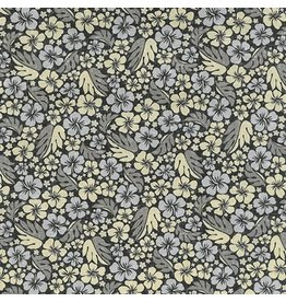 Sevenberry Island Paradise, Hibiscus in Black, Fabric Half-Yards