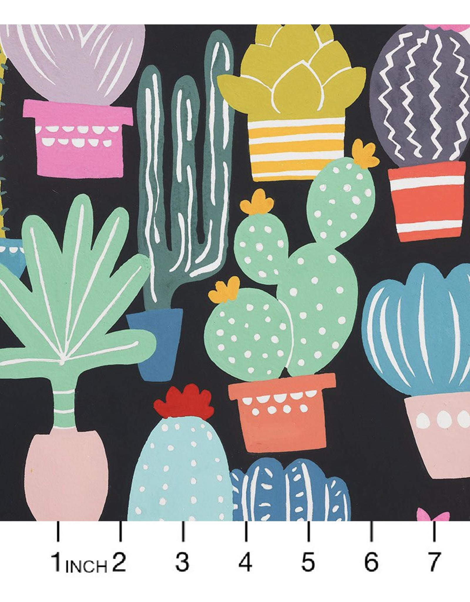 Alexander Henry Fabrics Folklorico, Los Cactos in Charcoal, Fabric Half-Yards