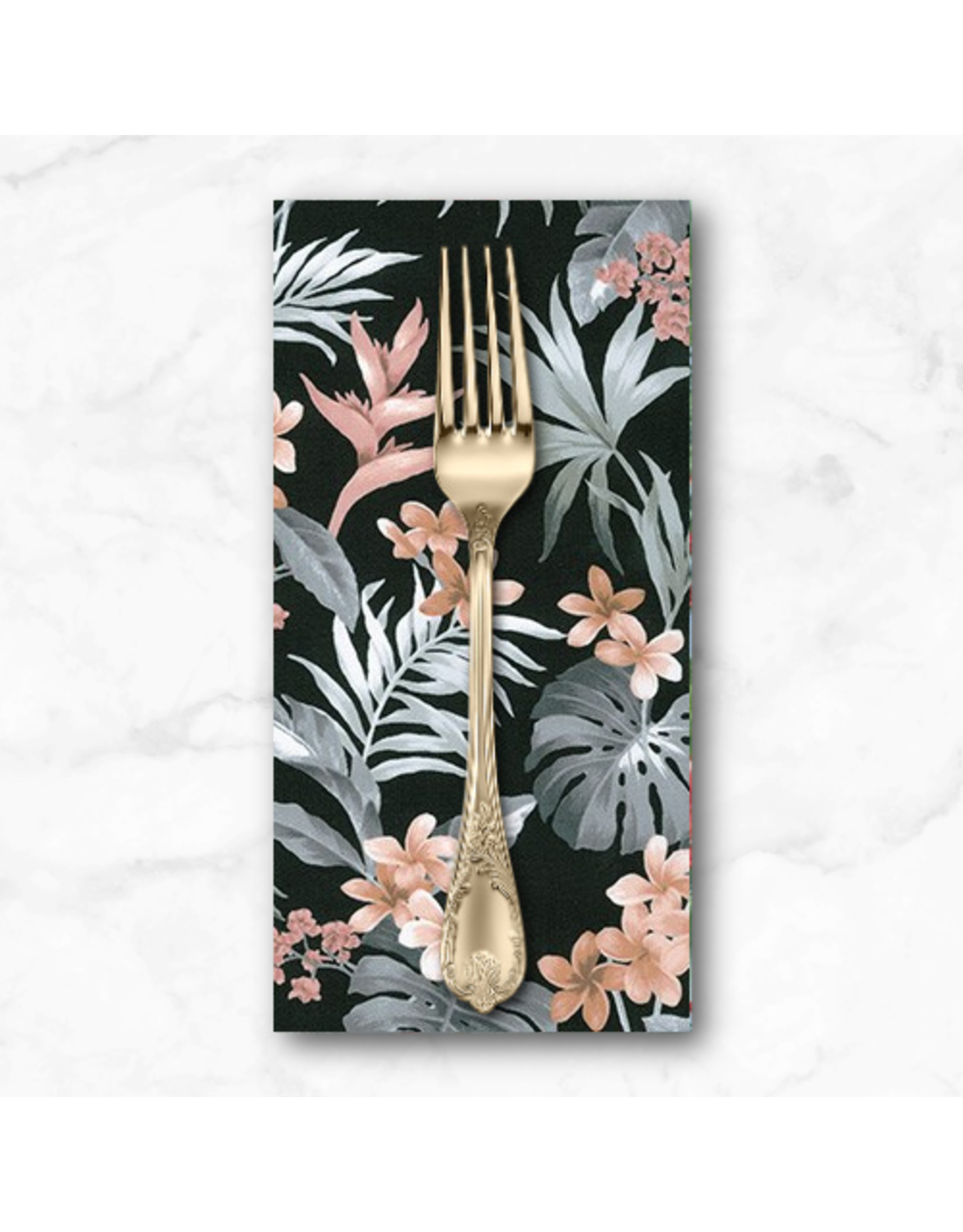 PD's Sevenberry Collection Island Paradise, Bird of Paradise in Black, Dinner Napkin