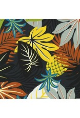 Sevenberry Island Paradise, Pineapples in Black, Fabric Half-Yards