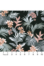 Sevenberry Island Paradise, Bird of Paradise in Black, Fabric Half-Yards