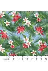 Sevenberry Island Paradise, Bird of Paradise in Blue, Fabric Half-Yards