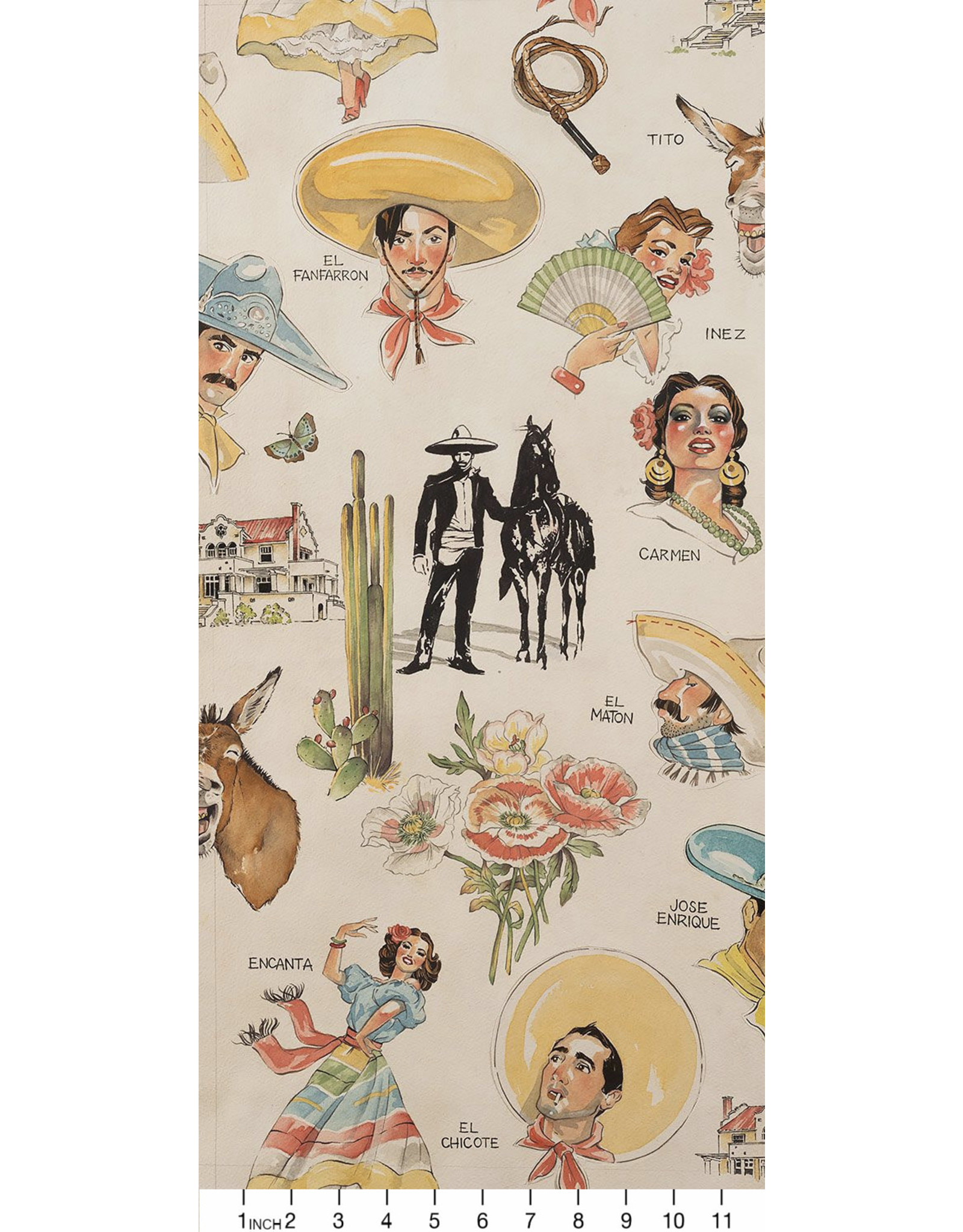 Alexander Henry Fabrics Folklorico, Hacienda in Tea, Fabric Half-Yards