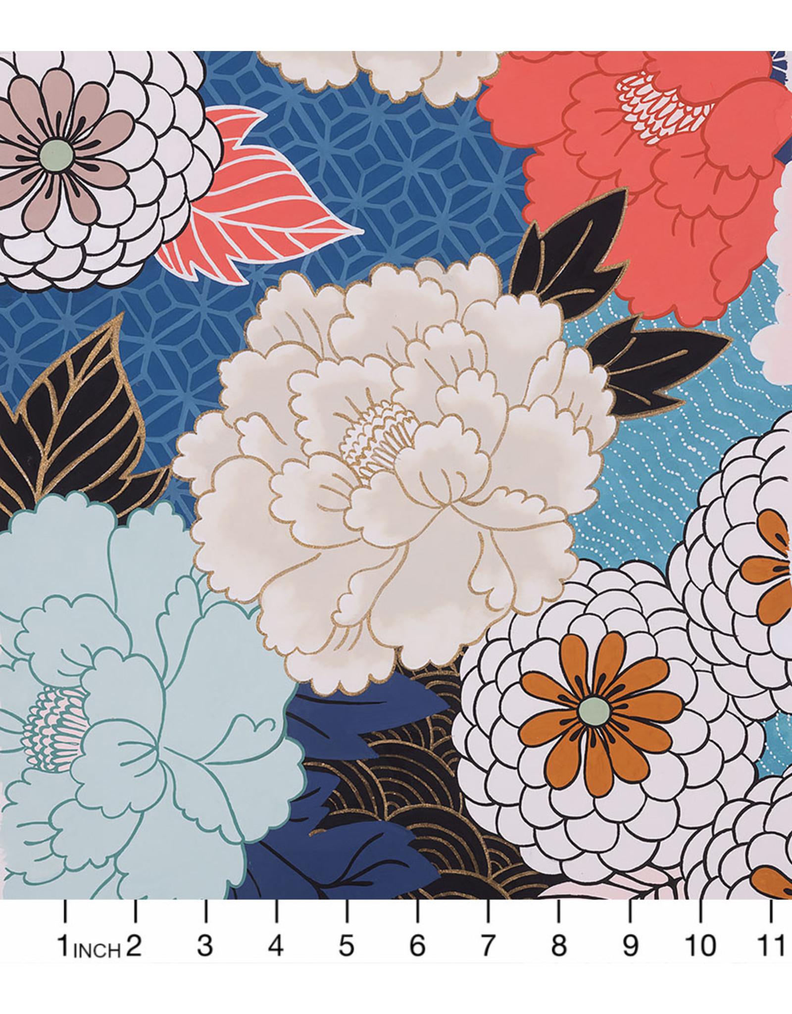 Alexander Henry Fabrics Nicole's Prints, Tokyo Mum in Denim with Gold Metallic, Fabric Half-Yards
