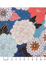 PD's Alexander Henry Collection Nicole's Prints, Tokyo Mum in Denim Blue, Dinner Napkin