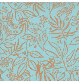 Moda Sunshine Soul, Leaf It To Me Leaves in Soft Jadeite with Metallic, Fabric Half-Yards