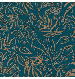 Moda Sunshine Soul, Leaf It To Me Leaves in Jadeite with Metallic, Fabric Half-Yards