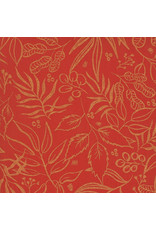 Moda Sunshine Soul, Leaf It To Me Leaves in Golden Peach with Metallic, Fabric Half-Yards
