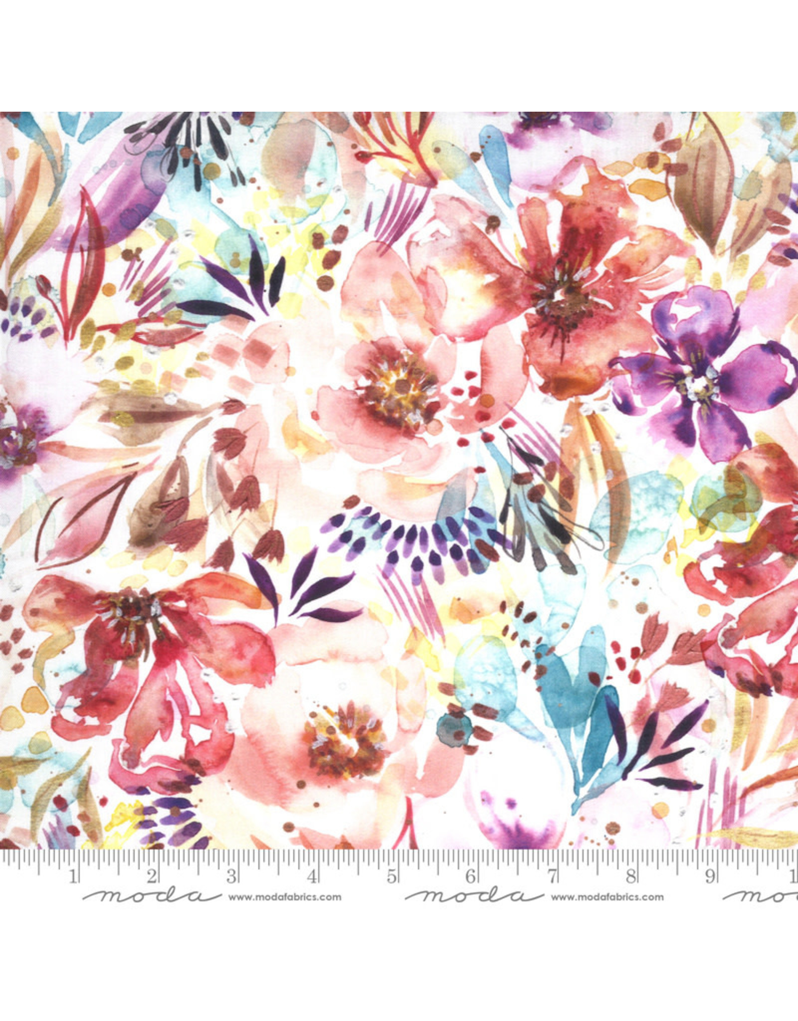 Moda Sunshine Soul, Bloomination Watercolor in Warm Breeze, Fabric Half-Yards