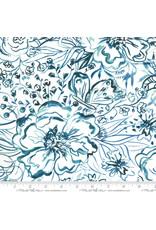 Moda Sunshine Soul, Passion Flowers in Jadeite, Fabric Half-Yards
