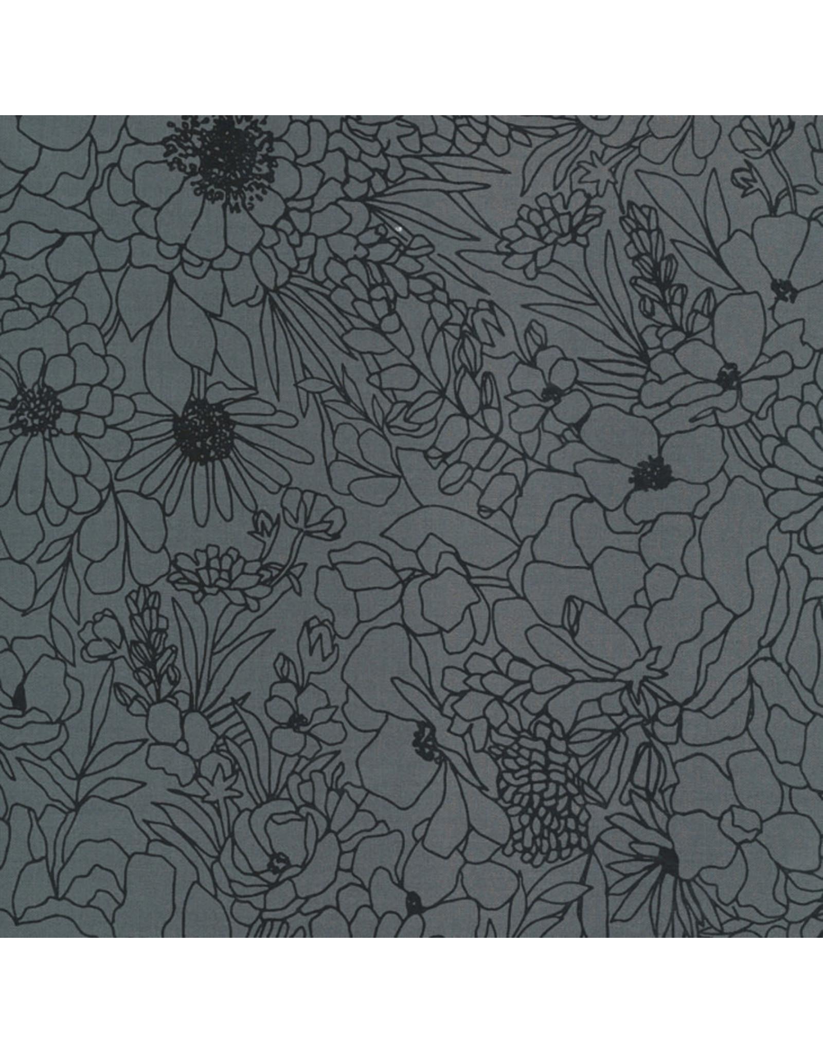 Moda Illustrations, Modern Florals in Graphite, Fabric Half-Yards