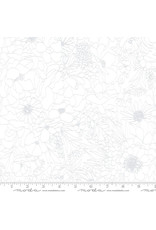 Moda Illustrations, Modern Florals in Tonal Paper White on White, Fabric Half-Yards