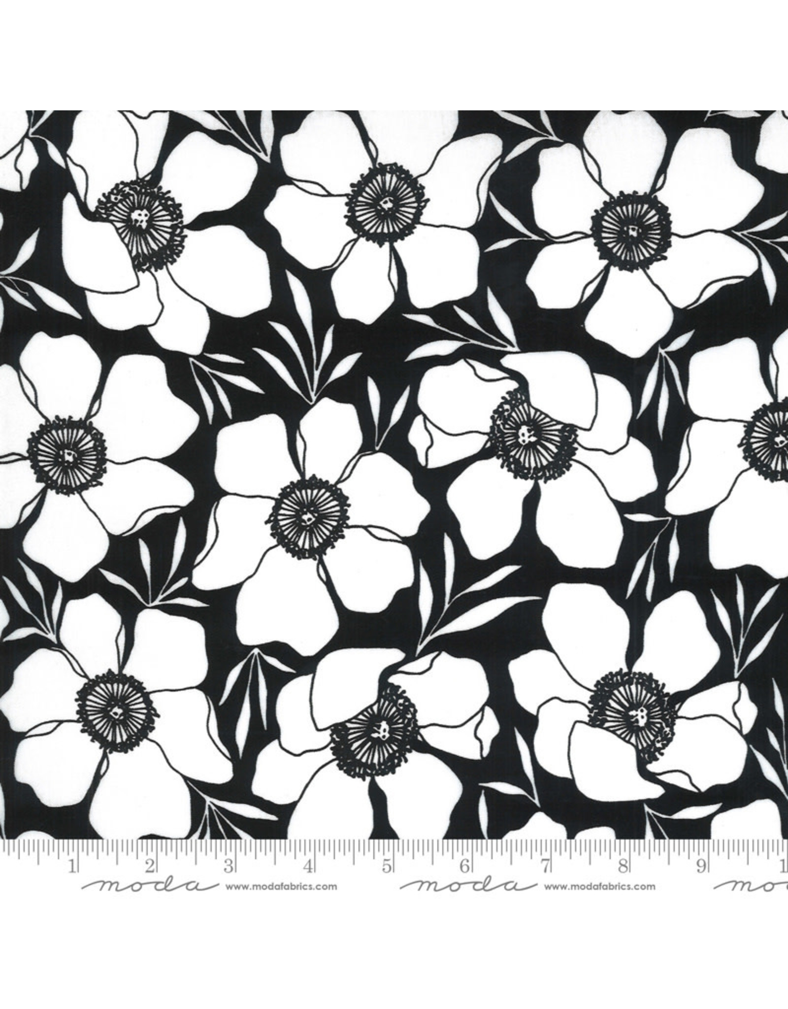 Moda Illustrations, Moody Florals in Ink, Fabric Half-Yards