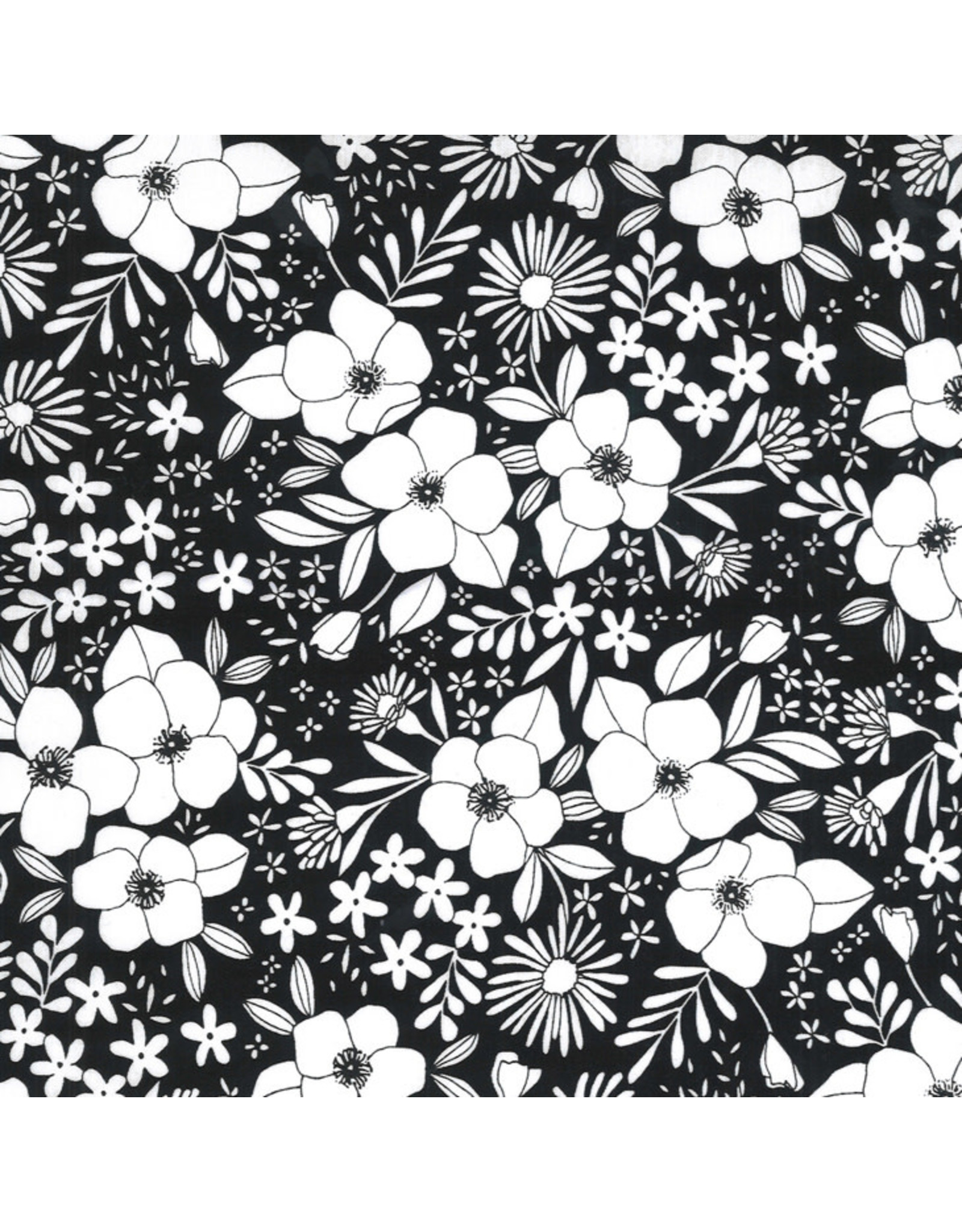 Moda Illustrations, Wild Florals in Ink, Fabric Half-Yards