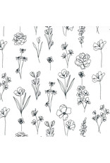 Moda Illustrations, Floral Doodle in Paper, Fabric Half-Yards