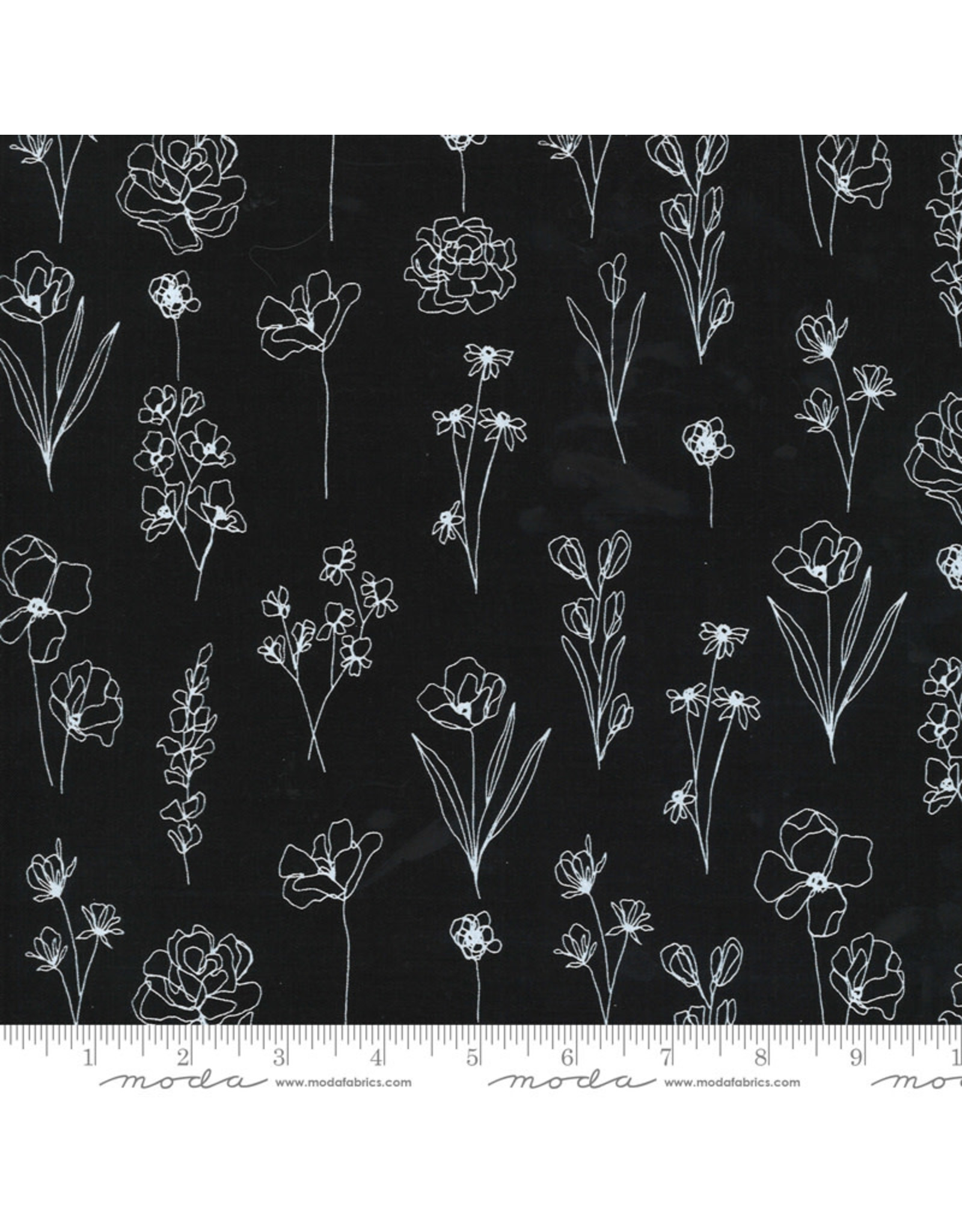 Moda Illustrations, Floral Doodle in Ink, Fabric Half-Yards