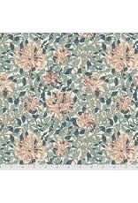 William Morris & Co. Morris & Co., Granada, Honeysuckle in Aqua, Fabric Half-Yards