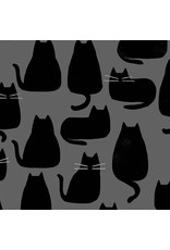 Sarah Golden Whiskers and Dash, Whiskers in Coal, Fabric Half-Yards