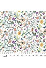 PD's Figo Collection Forage, Garden in White, Dinner Napkin