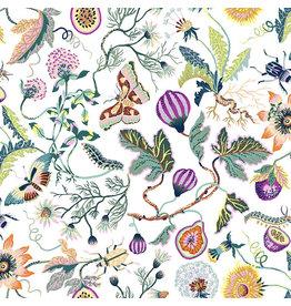 Figo Forage, Garden in White, Fabric Half-Yards