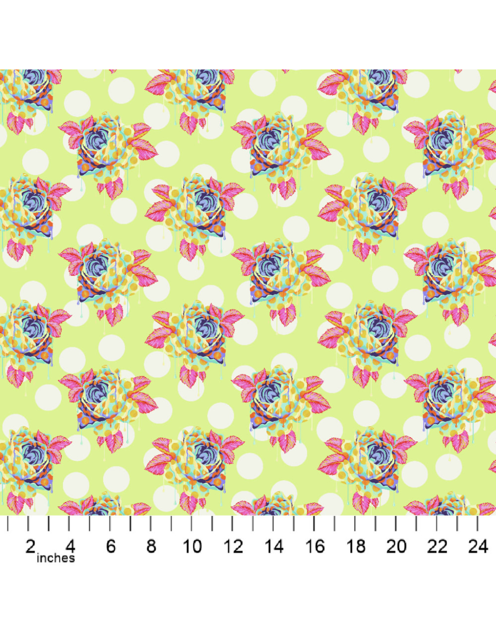 Tula Pink Curiouser and Curiouser, Painted Roses in Sugar, Fabric Half-Yards