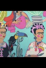 Alexander Henry Fabrics Folklorico, Frida con Las Plumas in Aqua, Fabric Half-Yards