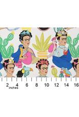 Alexander Henry Fabrics Folklorico, Frida con Las Plumas in Natural, Fabric Half-Yards
