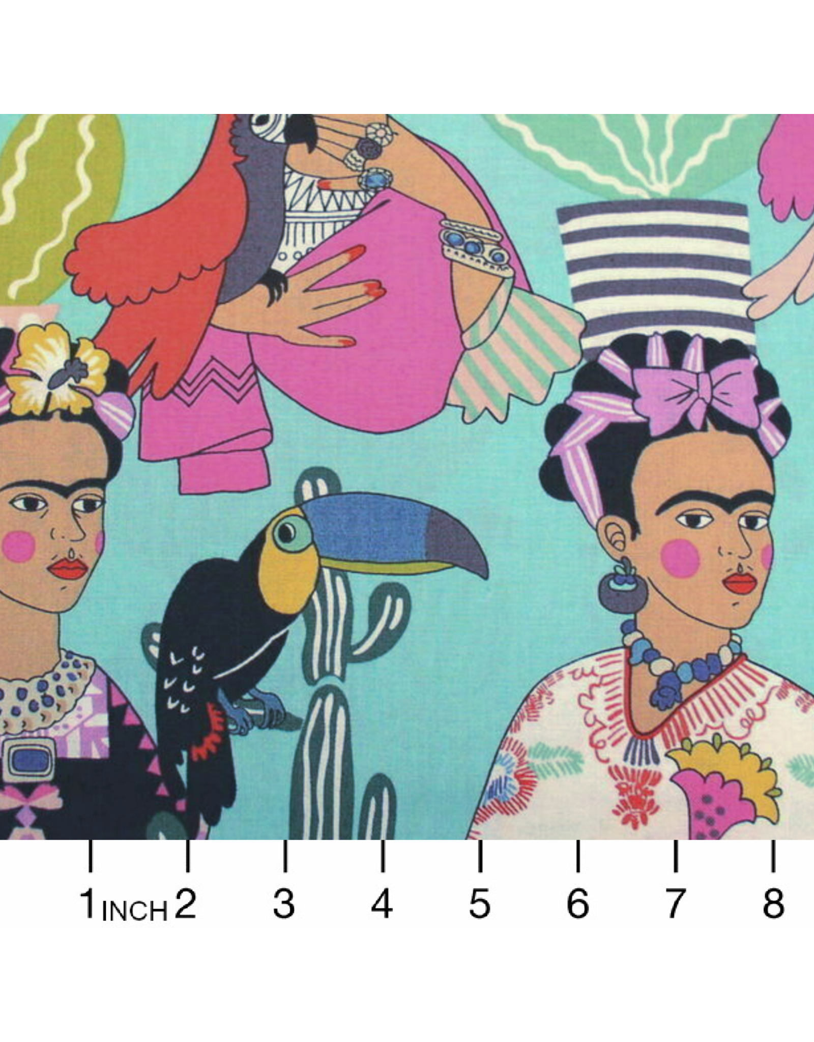 PD's Alexander Henry Collection Folklorico, Frida con Las Plumas in Aqua, Dinner Napkin