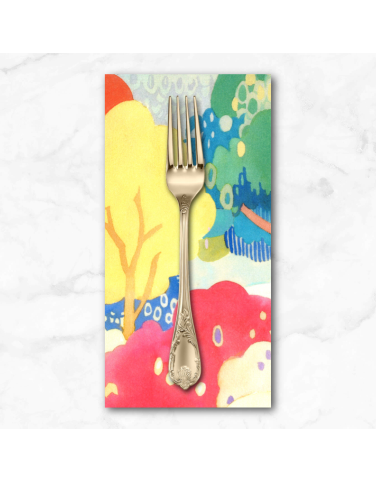 PD's Moda Collection Fanciful Forest, Scenic Watercolor Trees in Multi Leaf, Dinner Napkin