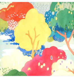 Moda Fanciful Forest, Scenic Watercolor in Multi Leaf, Fabric Half-Yards