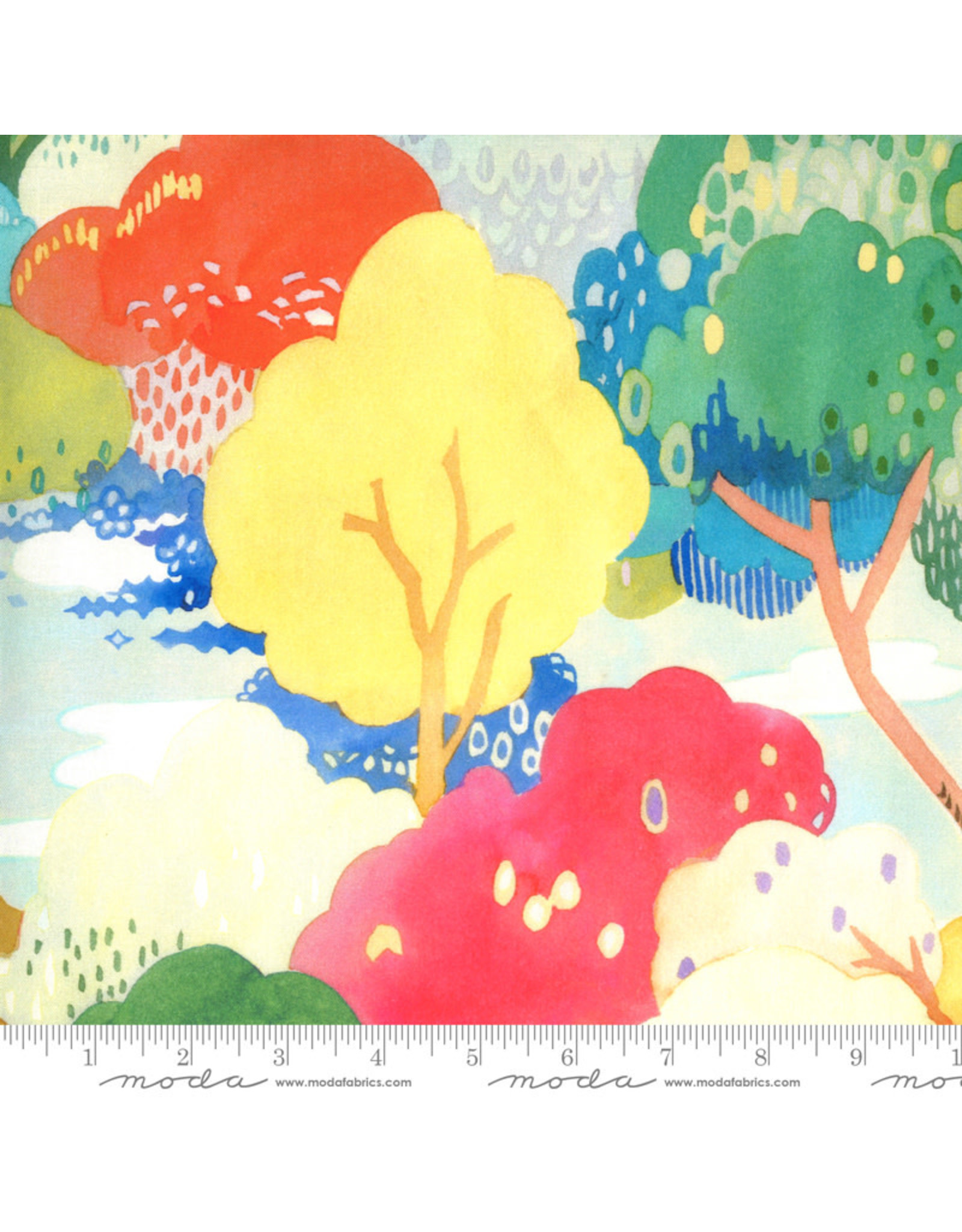 Moda Fanciful Forest, Scenic Watercolor Trees in Multi Leaf, Fabric Half-Yards