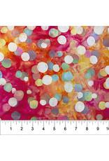 Northcott Color Me Banyan: Cotton Batik, Dot Necessities in Fuchsia Fire, Fabric Half-Yards