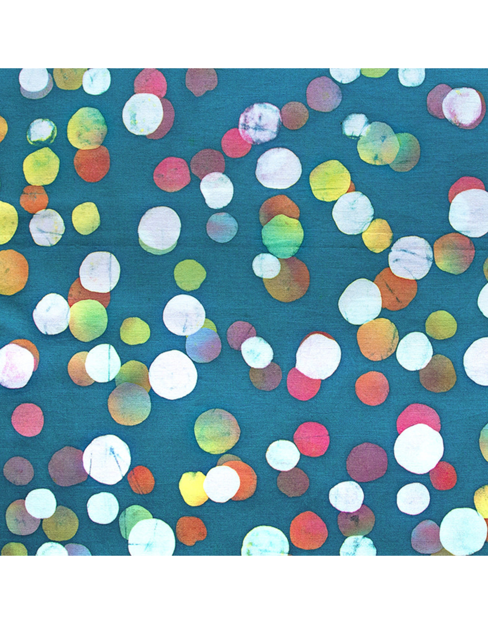 Northcott Color Me Banyan: Cotton Batik, Dot Necessities in Teal, Fabric Half-Yards
