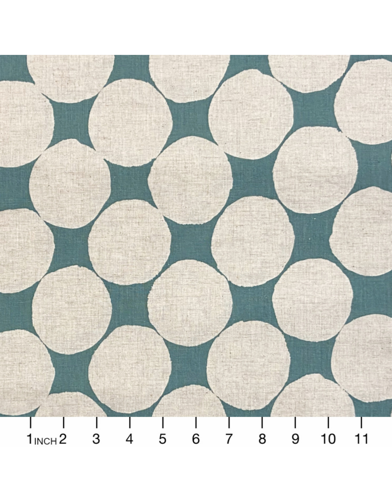 Japan Import Rayon/Linen Blend, Big Dots on Aqua, Fabric Half-Yards, Japan Import