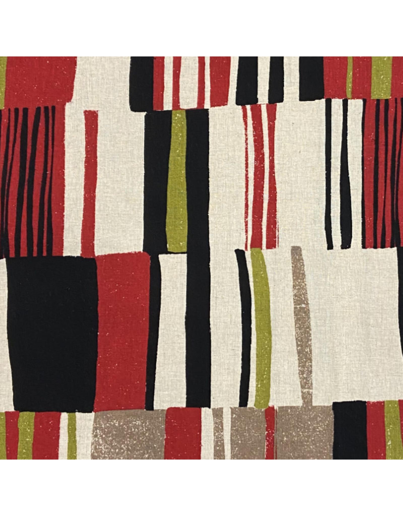 Japan Import Rayon/Linen Blend, Bold Stripes in Brick, Fabric Half-Yards, Japan Import
