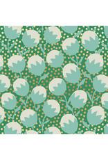Sarah Watts Ruby Star Society, Purl, Wanderlust in Emerald with Gold Metallic, Fabric Half-Yards
