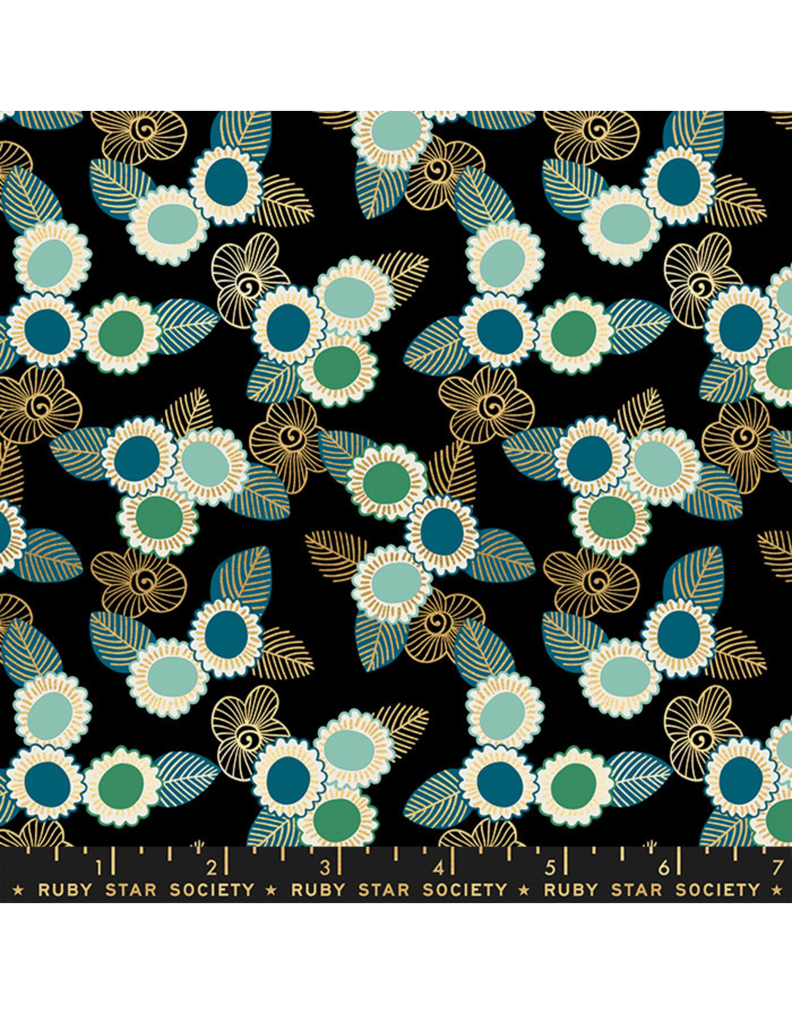 Sarah Watts Ruby Star Society, Purl, Embroidered Floral in Black with Gold Metallic, Fabric Half-Yards